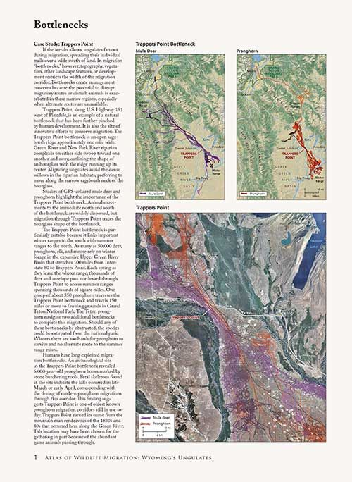An sample page from the Atlas of Wildlife Migration: Wyoming's Ungulates